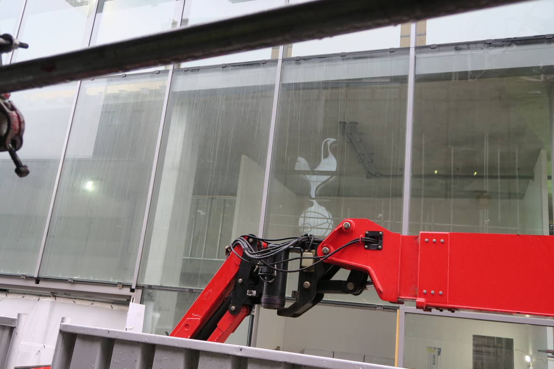 Cockerel in the window of new Spurs stadium