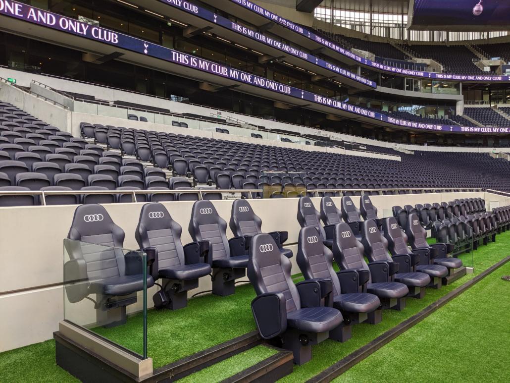 dugout's at the Tottenham Hotspur Stadium
