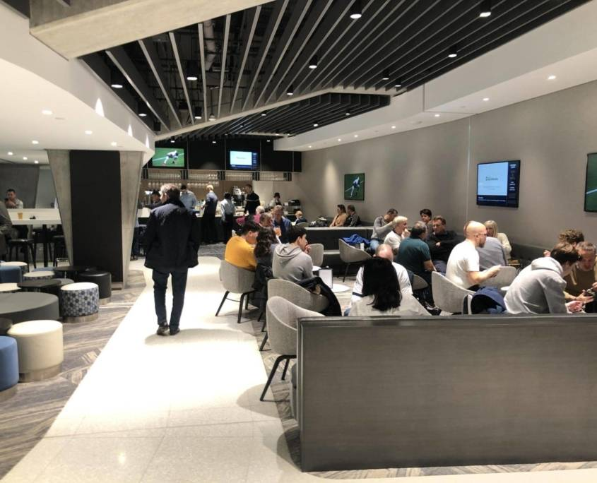 Seating area in the east stand hospitality at the Tottenham Hotspur Stadium