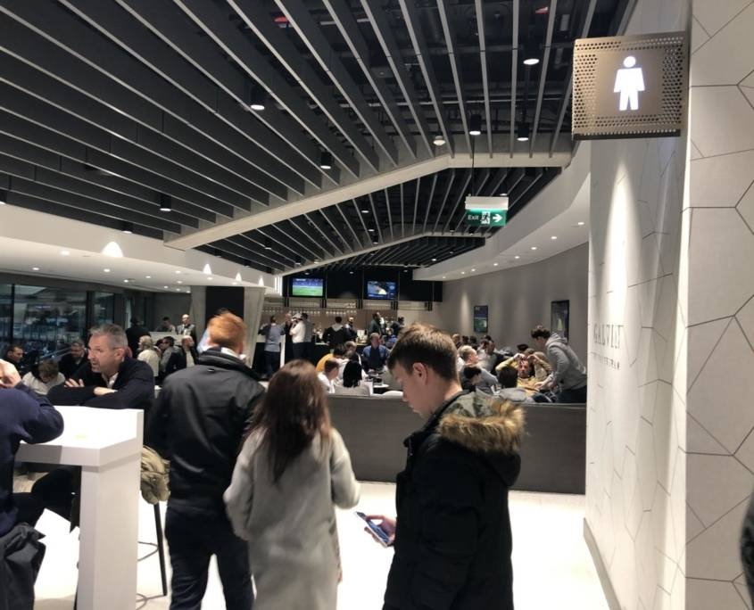 A bar in the east stand hospitality at the Tottenham Hotspur Stadium