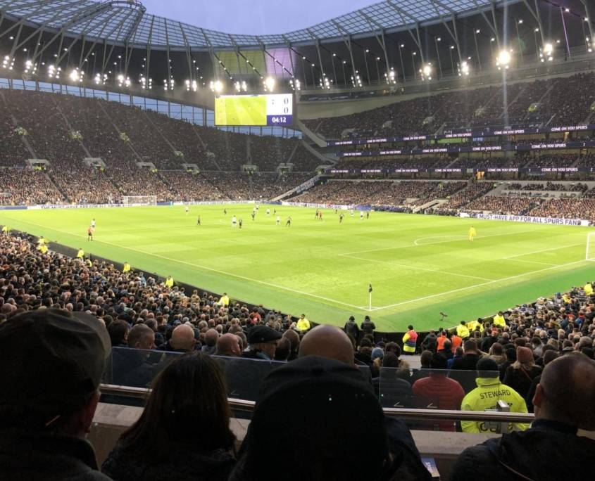 The view from the pitch from block 236 at the Spurs stadium