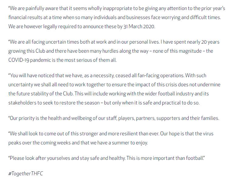 Daniel Levy Spurs statement